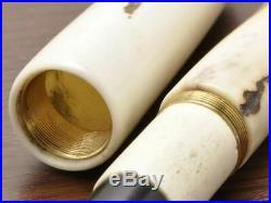 Handmade Wooden Fountain Pen Deer Horn NibF 14K Nishijin Ori Case Ltd item