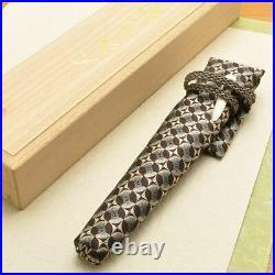 Handmade Woodwork plant Fountain Pen NibF 14K Striped Ebony Nishijin Ori Case