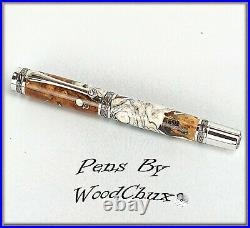 Handmade Wormy Madrone WoodWriting Rollerball Or Fountain Pen SEE VIDEO 1053