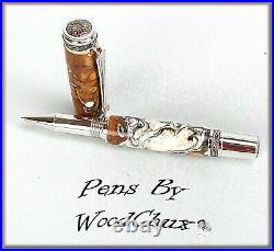Handmade Wormy Madrone WoodWriting Rollerball Or Fountain Pen SEE VIDEO 1053a