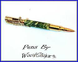 Handmade Writing Pen Green Boxelder Wood Bolt Action Hunting Beautiful Art 912