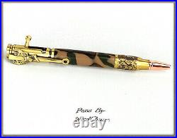 Handmade Writing Pen Woodland Camo Deer Hunter Bolt Action Hunting Stunning 919