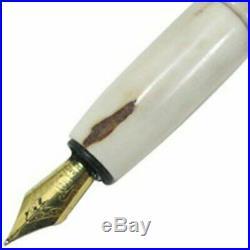 Japanese Handmade Deer Horn Fountain Pen Nib/F SS 153mm +converter & refill