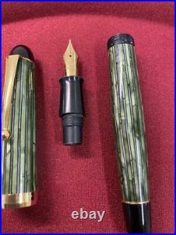 Kato Seisakusho Fountain Pen Handmade Celluloid 2500 Green Stripe Nib 14K Fine