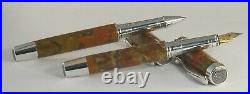 Orange and Red Jasper Fountain and Rollerball Pen Set § Made from solid stone