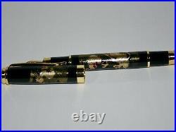 Original fountain pen has a modern maki-e of Dragon in the clouds with paulownia