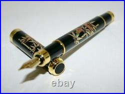 Original fountain pen has a modern maki-e of Sparrow on bamboo forest with box