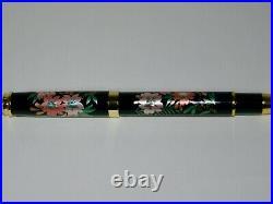 Original fountain pen has a modern maki-e of Weeping cherry tree with paulownia