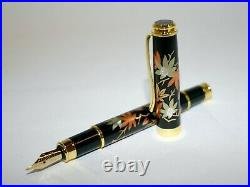 Original fountain pen has modern maki-e of Spring and autumn with box