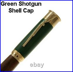 Over & Under Fountain Pen with a Green Cap a Walnut Body & 24ct. Gold / #356