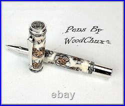 Pen Handmade Stunning Mini Pine Cones Rollerball Or Fountain ART SEE VIDEO 1143