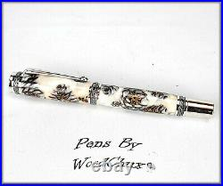 Pen Handmade Stunning Mini Pine Cones Rollerball Or Fountain ART SEE VIDEO 1143a