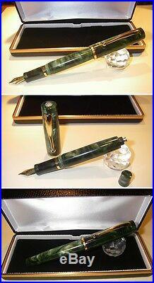 Penna Stilografica HandMade Celluloid fountain pen Duo Green Button Filler Jr