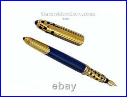 RARE CARTIER MUST PANTHERE BLUE GOLD FOUNTAIN PEN 1970s