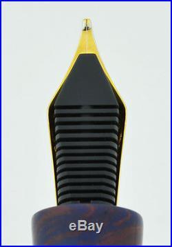 Ranga Ebonite Bamboo Fountain Pen Blue-Pink, Hand Made, JoWo German Nib, C/C