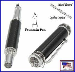 Regulus Major Pen in Carbon Fiber with Rhodium & Black Titanium / #417