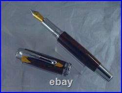 Ryan Krusac Studios Quatrain Grand Os Fountain Pen, Burl Wood, M Nib, Near-mint