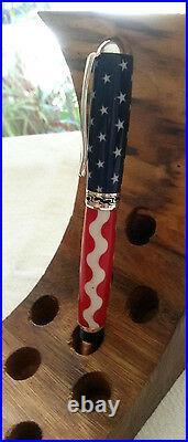 Sparkling Handmade Fountain Pen Stars & Stripes Silver Med Nib Converter Cartrid