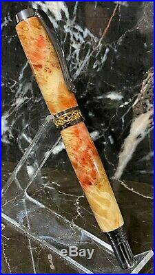 Stunning Inflamed Box Elder Burl Wood Fountain Pen Hand Made by HTC Creations