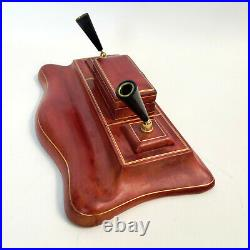 Vintage LEATHER WRAPPED Solid Wood Fountain Pen Stand Holder Desk Set Handmade