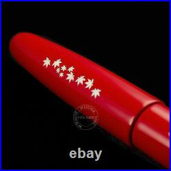 Wancher Handmade Lacquer & Shell Inlay Fountain Pen Red Cigar Type King size SS