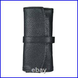 Wancher Japan Genuine Leather Handmade Fountain Roll Pen Case 5 Pens Black
