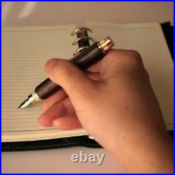 Woodcraft Kenichi Handmade Ebony Fountain Pen Nib Size M Made in Japan Unused