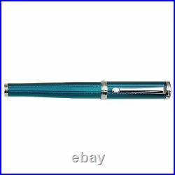Xezo Handmade Architect Azure Blue Diamond cut Medium Fountain Pen. Platinum Pl