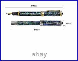 Xezo Handmade Maestro Sea Shell Fountain Pen, Medium Nib. Platinum. LE, SHOWROOM