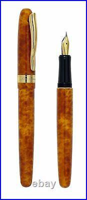 Xezo Handmade Phantom Autumn Brown Fountain Pen, Fine Nib. 18k Gold Plated, LE