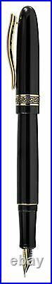 Xezo Handmade Phantom Classic Black Fountain Pen, Fine Nib. 18k Gold Plated, LE