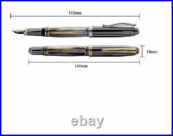 Xezo Handmade Platinum Plated Medium Fountain Pen Tungsten Metallic Finish Ma