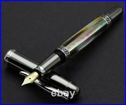 Xezo Maestro Black MOP Tungsten FPL Handmade Platinum Plated Medium Fountain Pen