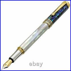 Xezo Maestro Handmade Mother of Pearl, Sea Shell Fine Fountain Pen, 18K Gold PL