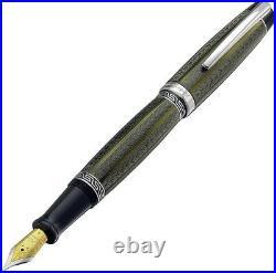 Xezo Maestro LG Moldavite F Maestro Handmade Lacquer Platinum Fine Fountain Pen