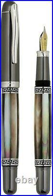 Xezo Maestro MOP Tungsten FPL-2 Hand Made Platinum Plated F Serial Fountain Pen