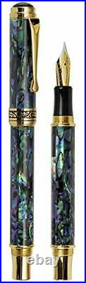 Xezo Maestro Natural Sea Shell Handmade Fountain Pen with 18K Gold Plated Par