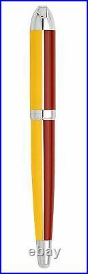 Xezo Visionary Aspen Gold & Red Enamel Medium Fountain Pen, Handmade. LE 500