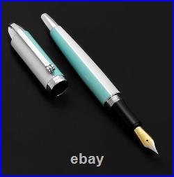 Xezo Visionary Sky Blue & White Enamel Medium Fountain Pen, Handmade. LE 500